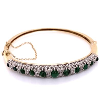 Closeup photo of 14K Yellow Gold Victorian 2.00tcw Emerald Cabochon & .50tcw Diamond Bangle 21.9g