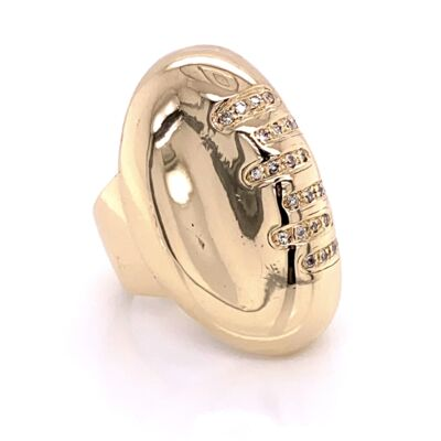 Closeup photo of 14K Yellow Gold FOOTBALL Ring with Diamond Laces .33tcw 19.7g, s6.5