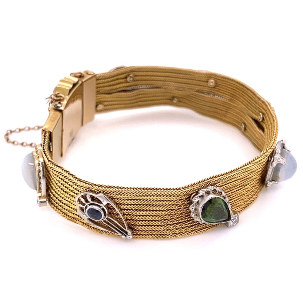 """Image 2 for 18K Yellow Gold Foxtail Bracelet with Stick Pin Heads & Gemstones 36.6g 6.8"""" Long"""