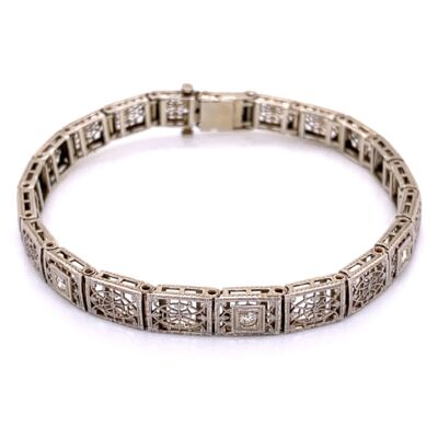"Closeup photo of 14K White Gold Art Deco Filigree Bracelet 3 Diamonds are .12tcw 10.5g, 7"" long"