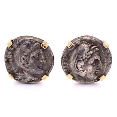 Closeup photo of 14K Yellow Gold Roman Alexander Silver Coins Cufflinks 43.0g