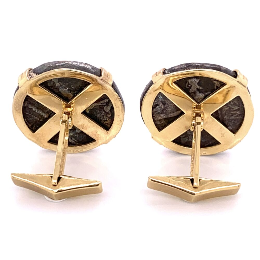 Image 2 for 14K Yellow Gold Roman Alexander Silver Coins Cufflinks 43.0g