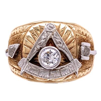 Closeup photo of 14K White & Yellow Gold Mens Masonic .33ct Diamond Ring 15.4g, s8.5