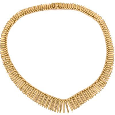 Closeup photo of 18K Yellow Gold CLEOPATRA style UNO A.R. Italian Fan Necklace 58.5g,  16""
