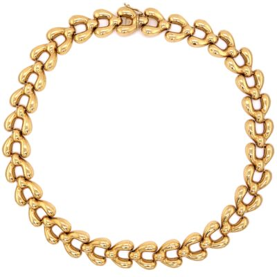 "Closeup photo of 18K Yellow Gold 1970's Open Link Necklace 46.4g, 16"" Long"