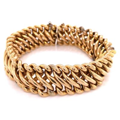 "Closeup photo of 18K Rose Gold Hollow Spiral Link Bracelet 32.7g, 7.5"" Long"