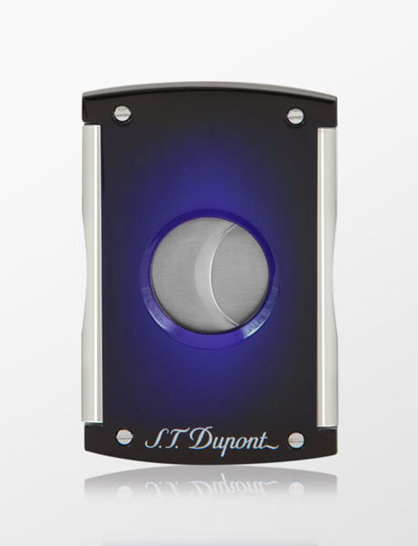 Closeup photo of S.T. Dupont Cigar Cutter Maxijet Sunburst Blue