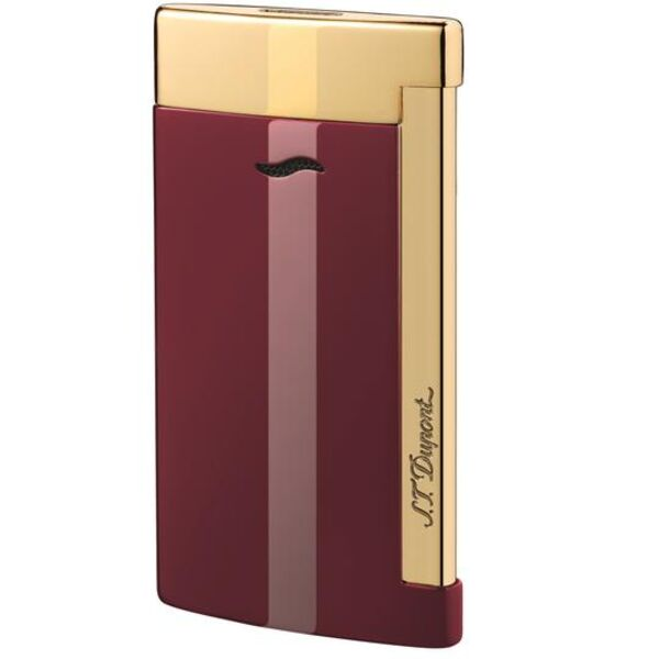 Closeup photo of S.T. Dupont Slim 7 Lighter Burgundy/Gold