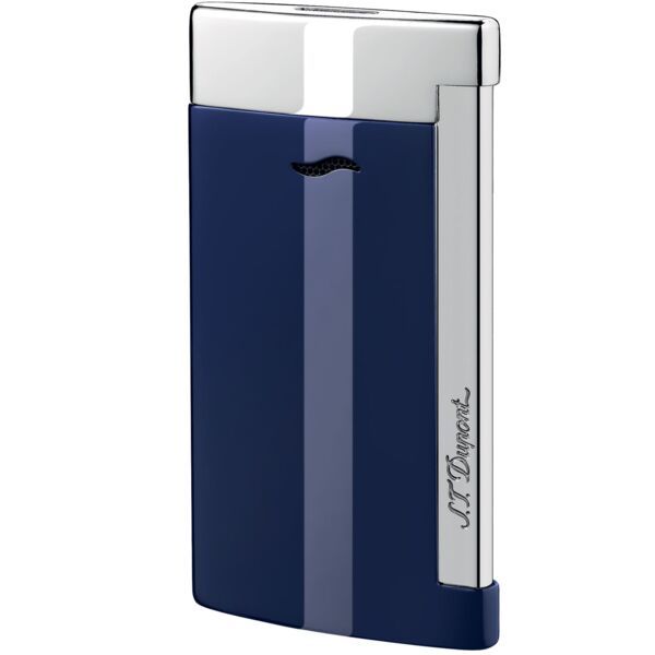 Closeup photo of S.T. Dupont Slim 7 Lighter Blue Lacquer