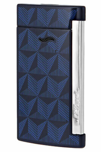 Closeup photo of S.T. Dupont Slim 7 Lighter Graphic Head/Blue