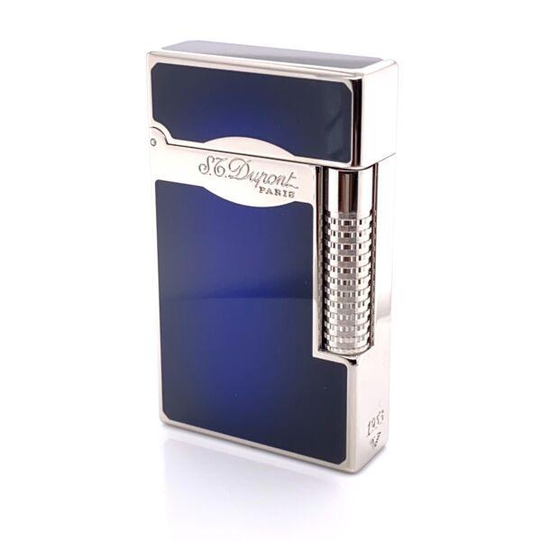 Closeup photo of S.T. Dupont Le Grand Sunburst Blue Finish Cigar Lighter