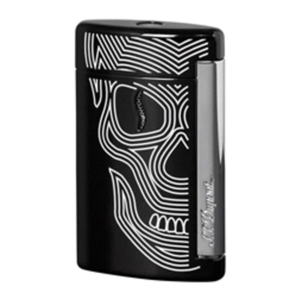 Closeup photo of S.T. Dupont MiniJet Lighter Black Skulls
