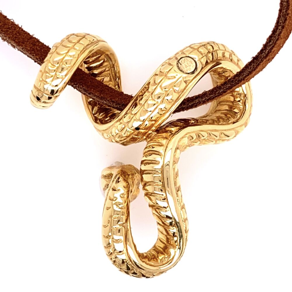 Image 2 for 14K Yellow Gold ITALY AR 1760 Serpant Snake Slide Pendant on Leather Cord