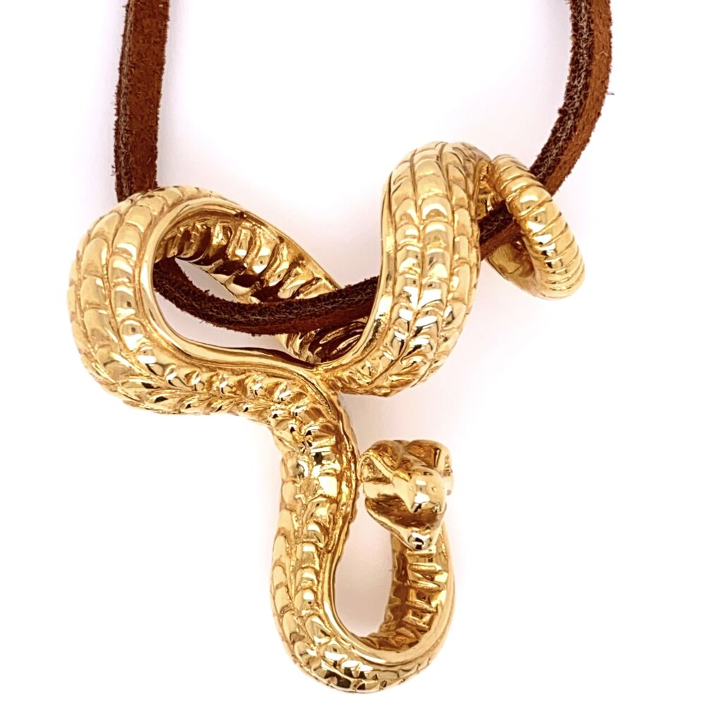 14K Yellow Gold ITALY AR 1760 Serpant Snake Slide Pendant on Leather Cord