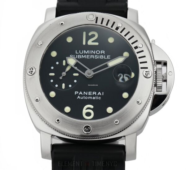 Closeup photo of Panerai Luminor Submersible Stainless Steel 44mm Watch on Rubber Strap with Deployant Buckle