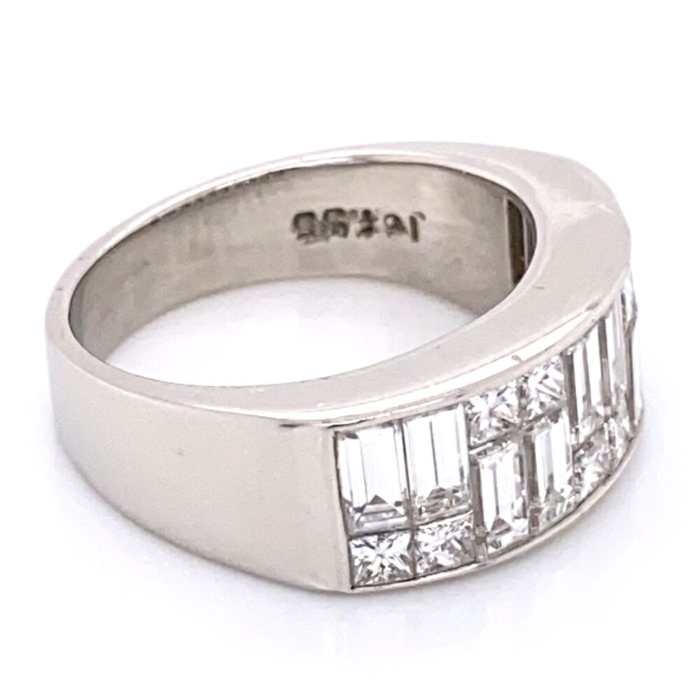 Image 2 for Platinum Diamond Band Ring with Baguette & Princess Cut Diamonds 2.50tcw 12.8g