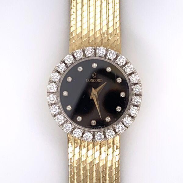 "Closeup photo of 14K Yellow Gold CONCORD Diamond 1.10tcw Watch Box & Papers 6.5"" 36.7g"