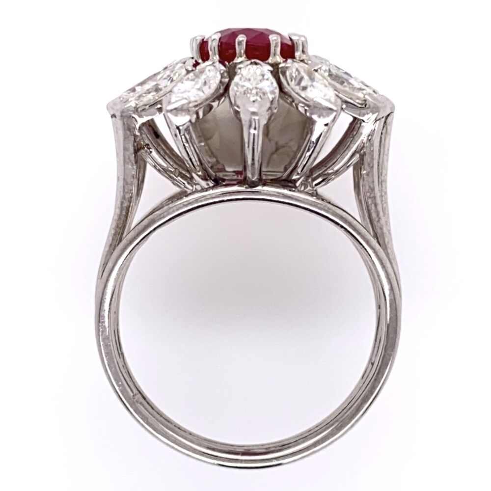Image 2 for 18K White Gold 2.15ct Oval Burma Ruby Ring with 2.00tcw Marquis Diamonds