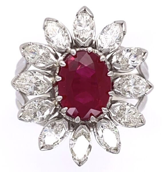 Closeup photo of 18K White Gold 2.15ct Oval Burma Ruby Ring with 2.00tcw Marquis Diamonds