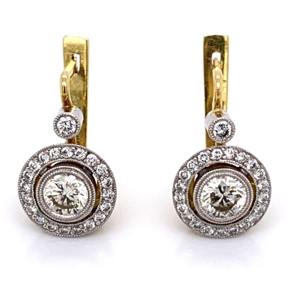 Platinum on 18K Diamond Drop Earrings, 2= 1.00tcw & 44=.48tcw, 7.8g