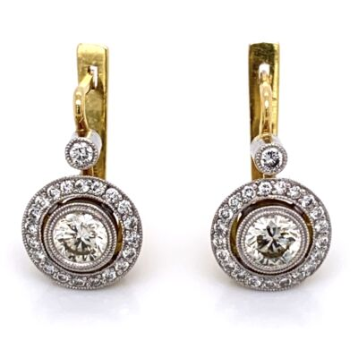 Closeup photo of Platinum on 18K Diamond Drop Earrings, 2= 1.00tcw & 44=.48tcw, 7.8g