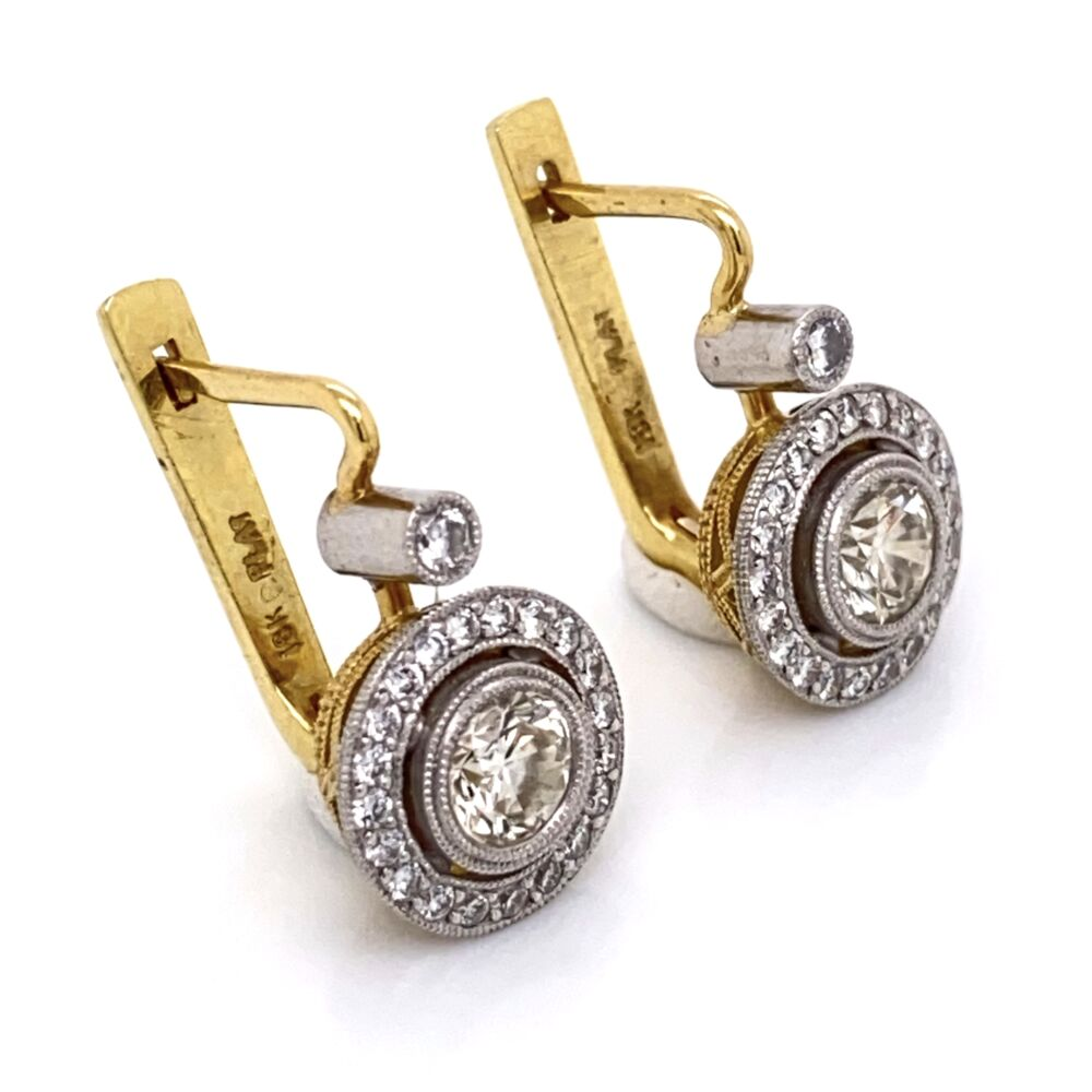 Image 2 for Platinum on 18K Diamond Drop Earrings, 2= 1.00tcw & 44=.48tcw, 7.8g