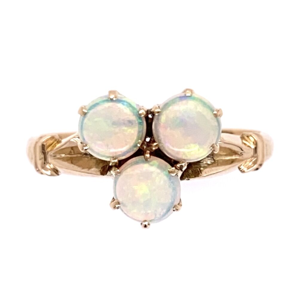 14K Yellow Gold Victorian 3 Opal Ring 2.6g, s6.5