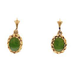 "Closeup photo of 14K Yellow Gold Nephrite Jade Earrings 1.8g, .75"" Tall"
