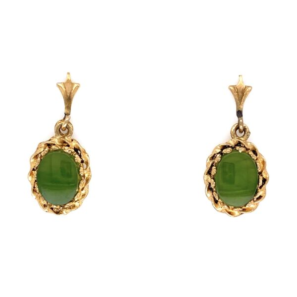 "Closeup photo of 14K Yellow Gold Nephrite Jade Earrings 1.8g, .75"" Tall"