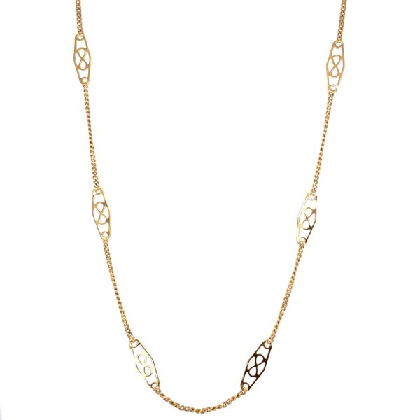 Closeup photo of 14K Yellow Gold Italtian Station Chain Necklace 3.8g, 24""