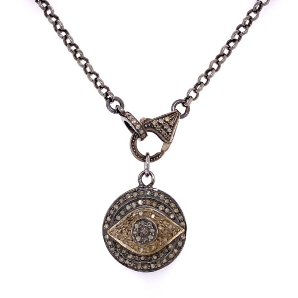 Closeup photo of 925 Sterling Silver Designer .90tcw Diamond Evil Eye Necklace & Pendant 12.3g, 17""