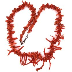 Closeup photo of Branch Red Coral Necklace with Sterling Clasp 18.5""