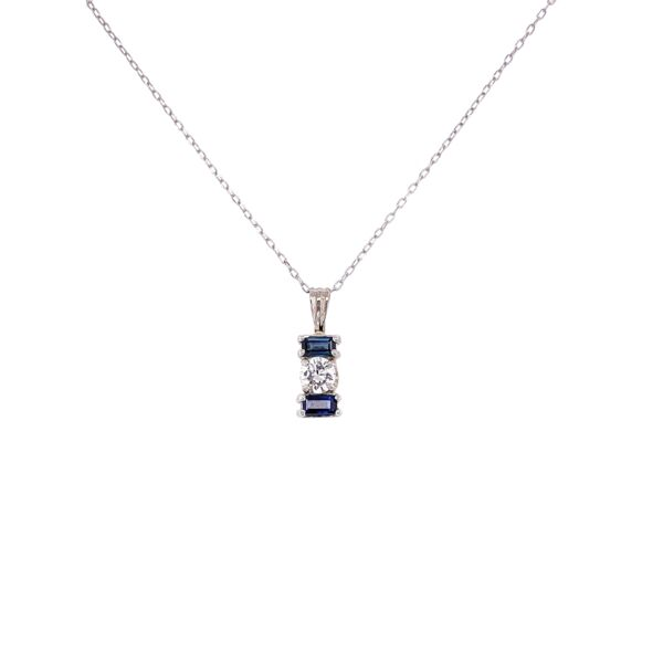 "Closeup photo of 14K White Gold .25ct Diamond & .28tcw Sapphire Pendant on 18"" Chain 1.7g"
