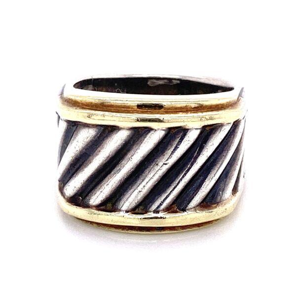 Closeup photo of 14K & 925 Sterling D.Yurman Rope Ring 7.7g, s6.25