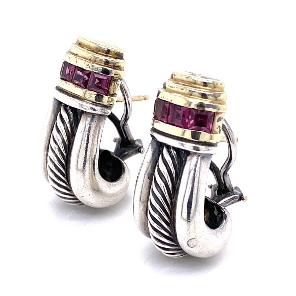 Image 2 for 14K & 925 Sterling D.Yurman Purple Garnet Earrings 14.7g