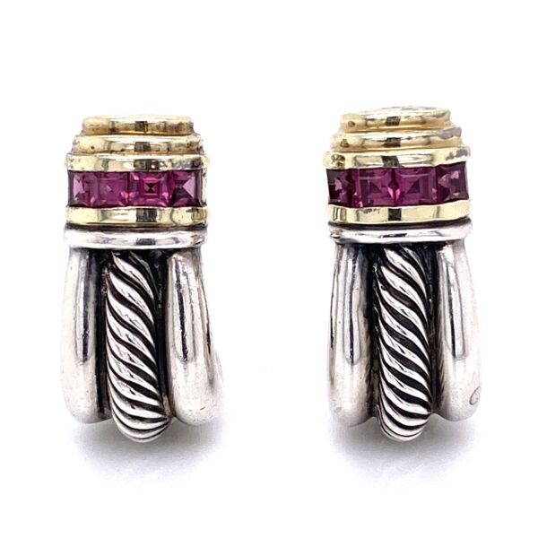 Closeup photo of 14K & 925 Sterling D.Yurman Purple Garnet Earrings 14.7g