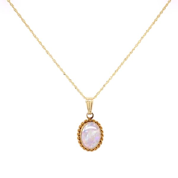 "Closeup photo of 14K Yellow Gold White Opal CARLA Pendant on 18"" chain"