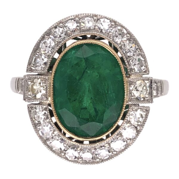 Closeup photo of Platinum Art Deco 2.72ct Oval Emerald & .72tcw Diamond Ring 4.6g, s6.75