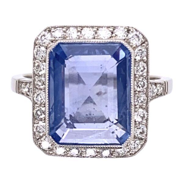 Closeup photo of Platinum Art Deco 4.89ct Blue Sapphire & .65tcw Diamond Ring 6.1g, s7