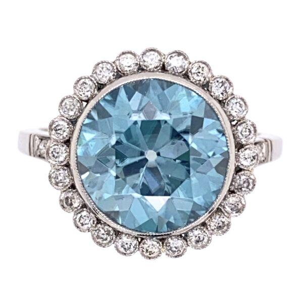 Closeup photo of Platinum Art Deco 7.43ct Blue Zircon & .44tcw Diamond Ring 7.4g, s7.25