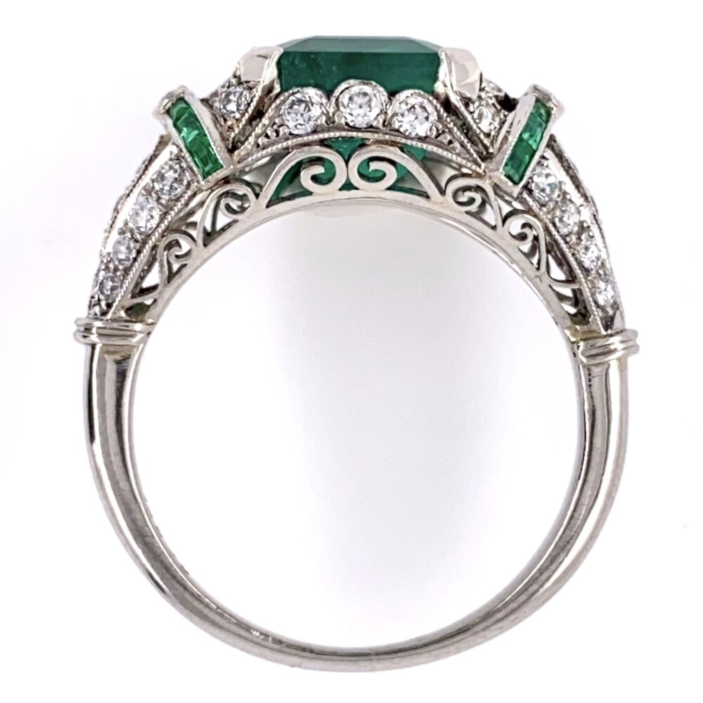 Image 2 for Platinum Art Deco 2.96ct Emerald Ring with .55tcw Diamonds & .10tcw Emeralds 5.2g, s6.75