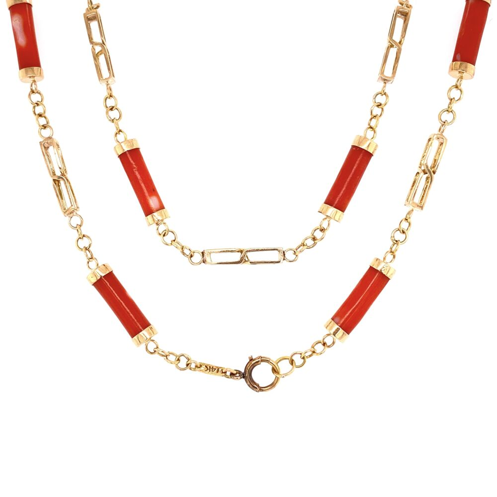 "Image 2 for 14K Yellow Gold Coral Barrel Link Necklace 15.2g, 24"" Long"