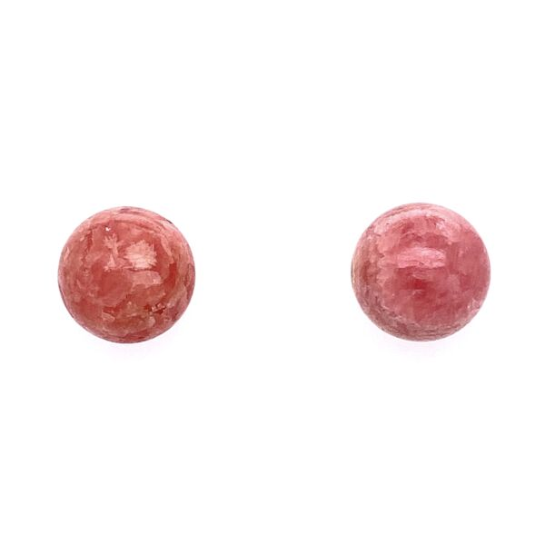 Closeup photo of 14K Yellow Gold Rhodocrosite 12mm Round Studs