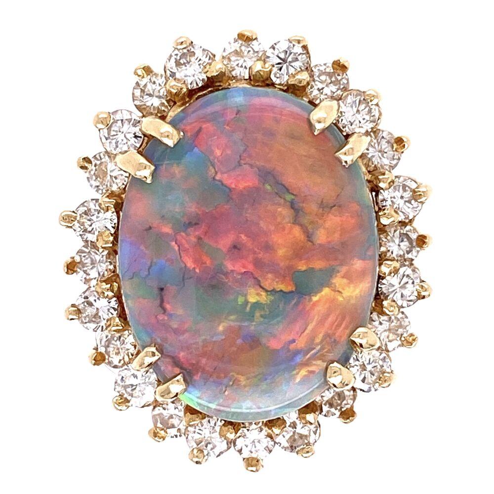 14K Yellow Gold 4ct Dark Gray Opal & 1.00tcw Diamond Ring 6.9g, s5