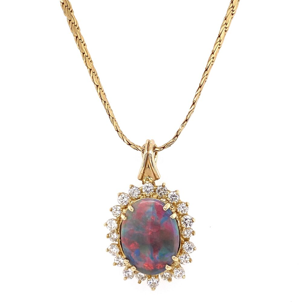 "14K Yellow Gold 5ct Dark Gray Opal & 1.80tcw Diamond Necklace 14.7g , 16"""