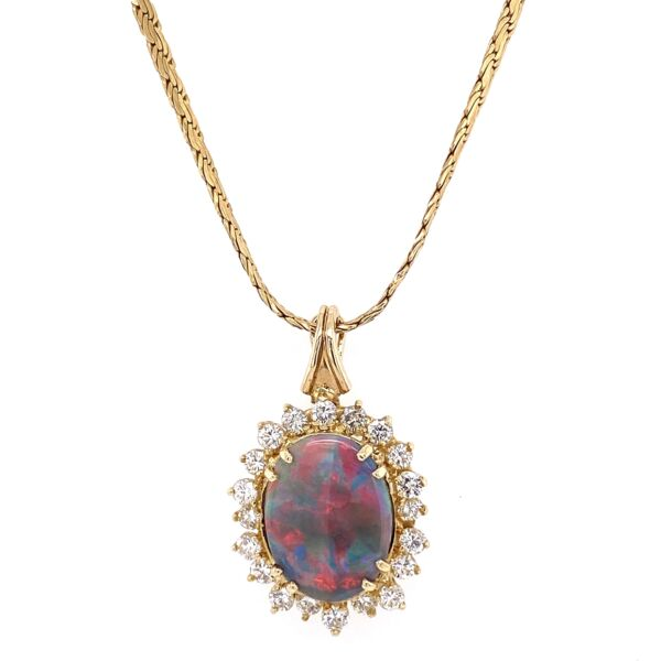 Closeup photo of 14K Yellow Gold 5ct Dark Gray Opal & 1.80tcw Diamond Necklace 14.7g , 16""