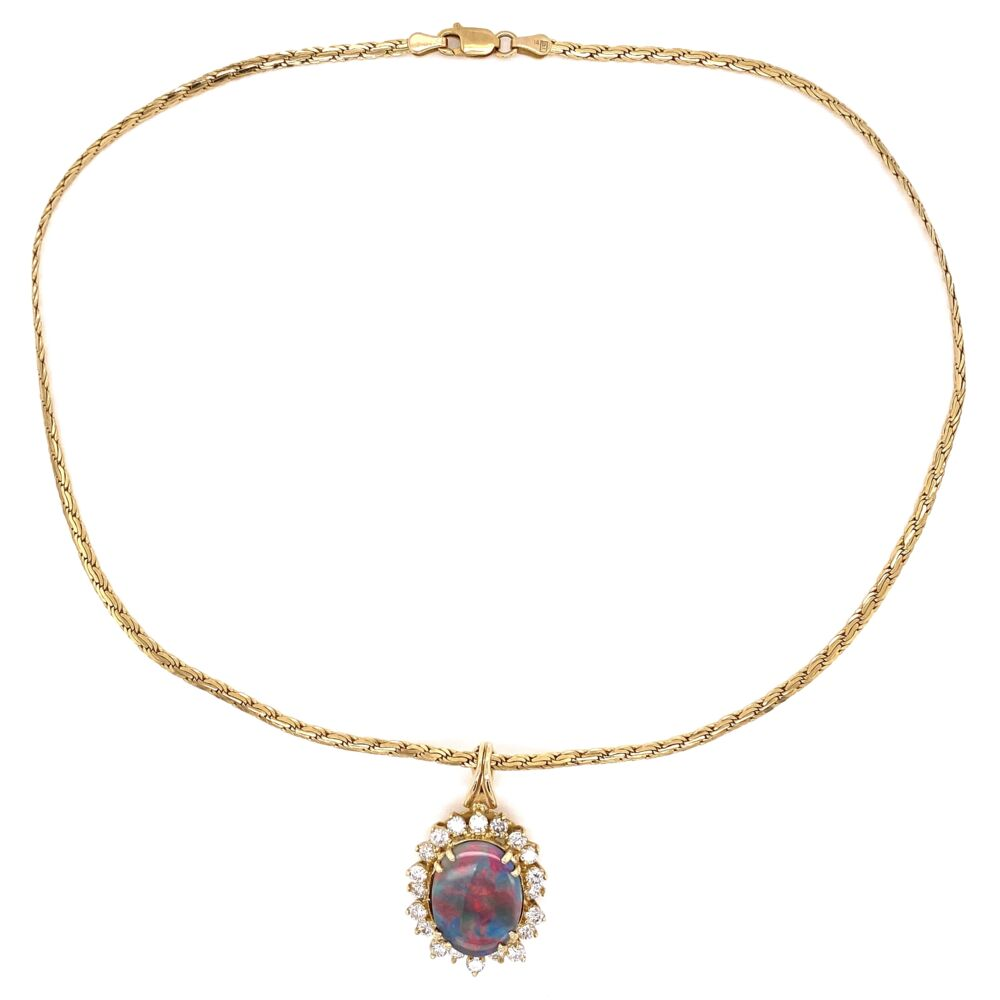 """Image 2 for 14K Yellow Gold 5ct Dark Gray Opal & 1.80tcw Diamond Necklace 14.7g , 16"""""""