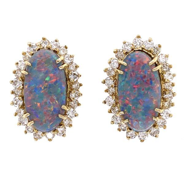 Closeup photo of 14K Yellow Gold 6tcw Dark Gray Opal & 2.00tcw Diamond Earrings 11.7g
