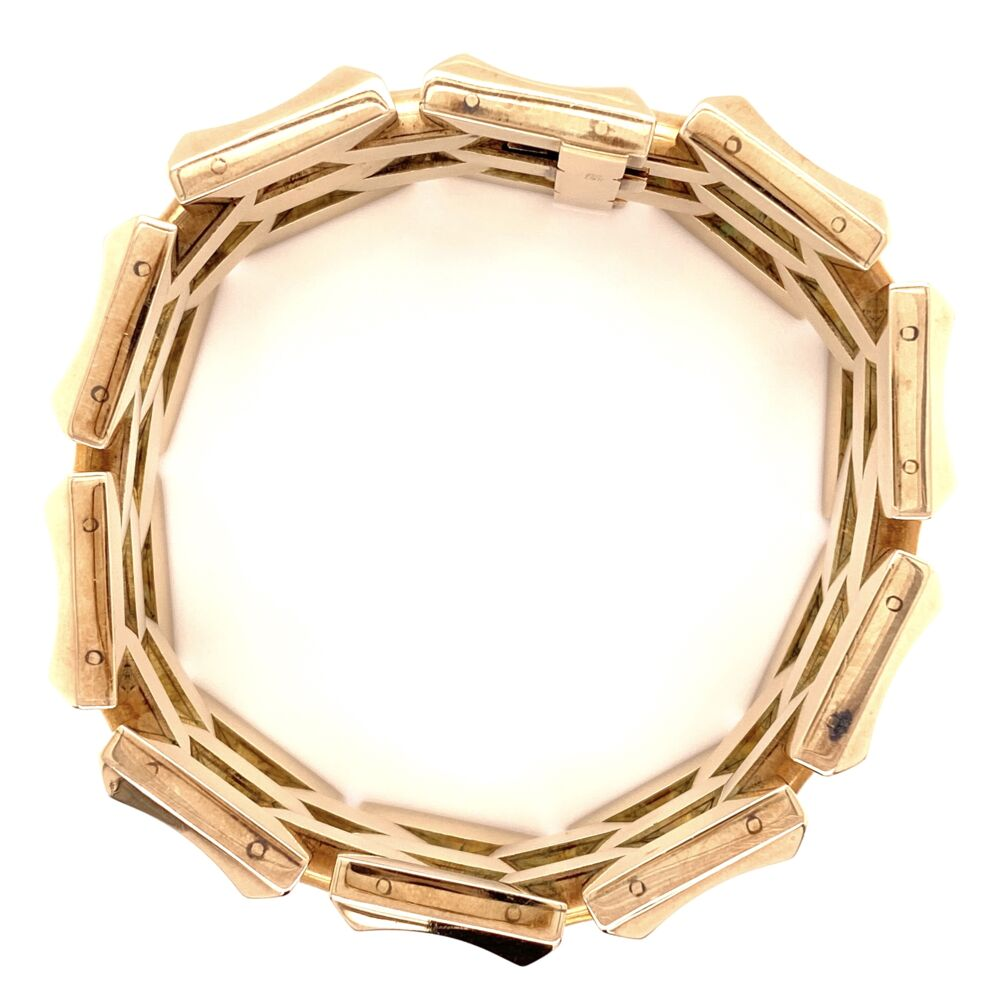 "Image 2 for 14K Rose Gold Retro 5 Link 1.25"" Wide Bracelet 105.0g, 7.5"" Long"