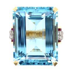 Closeup photo of 14K Yellow Gold Retro 40ct Aquamarine Diamond & Ruby Ring 27.3g, s7.25
